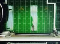 Verticle Green Subway Tiles with Accent