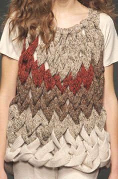 Escorpion (Spanish Brand) F/W '13  | absolutely brilliant, knitted tweed strips and braided like cables