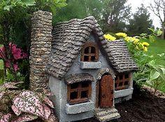 Miniature Fairy Garden Daisy Manor w/ Hinged Door / Faerie Gnome Cottage House