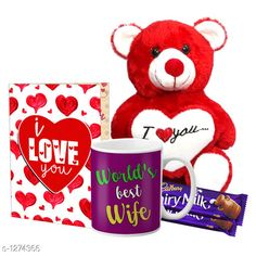 Accessories Delight Gifts(Pack Of 4)  Material: Mug - Ceramic Greeting Card - Paper Teddy Bear - Imported Size : Greeting Card : A4 Teddy Bear - 6 in           Capacity : Mug - 325 ml Description: It Has 1 Piece Of Mug & 1 Piece Of Greeting Card & 1 Piece Of Teddy Bear & 2 Pieces Of Chocolate Work : Mug - Printed Greeting Card - Printed Country of Origin: India Sizes Available: Free Size   Catalog Rating: ★4.1 (1537)  Catalog Name: Delight Gifts Combo Vol 8 CatalogID_161917 C127-SC1621 Code: 153-1274366-108