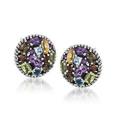5.40 ct. t.w. Multi-Gem Earrings In Sterling Silver