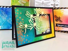 Dragonfly Dreams Bundle. Fun watercolour backgrounds using Brusho Crystal Watercolours. Juana Create.
