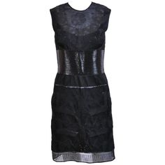 VERSACE Black Tulle Dress w/ Patent Leather