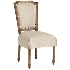 Hand-upholstered in a smooth twill over a hardwood rectangular frame, our Sadie Dining Chair transitions from understated to sophisticated with its nailhead trim and skirted seat. And because we know you like long, leisurely meals, we've made Sadie extra-comfortable with a foam-padded seat and back.