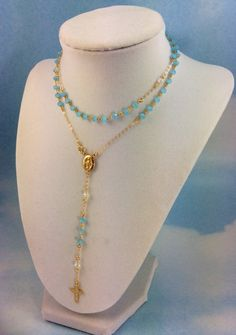 Long Rosary Necklace Light Blue Swarovski Crystals Gold Filled Miraculous Medellion Virgin Mary Rosaries
