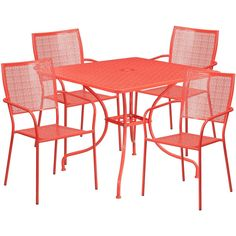 Flash Furniture Outdoor Patio Furniture Set 5 Piece Dining Set Metal Table Chair #FlashFurniture