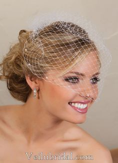 Bring a bit of retro styling to your wedding day attire with this lovely cage veil. The net design and faux-pearl edging are reminiscent of weddings past but create a look that any modern bride is sure to appreciate. Wedding Veils, Our Wedding, Wedding Ideas, Bridal Veils, Wedding Things, Wedding Stuff, Wedding Dresses, Short Veil, Bridal Comb