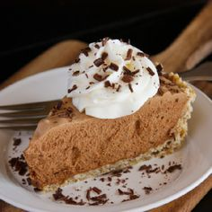 Chocolate French Silk Pie with Salted Pecan Crust.