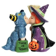 """Westland Giftware Trick or Treaters Salt and Pepper Shakers by Westberry Wellness Programs. $12.00. Made of ceramic material. Exceptional Quality. Wonderful gift. Bright and cheery. These fun """"Mwah."""" salt and pepper shakers feature two adorable trick-or-treaters, and they are even magnetic so that they always stay together. These are a great addition to any table. Westland Giftware is known for quality and design."""