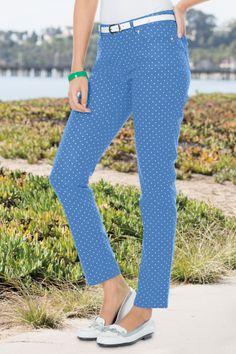 Dot Print Denim Straight-Leg Jean Misses | Chadwicks