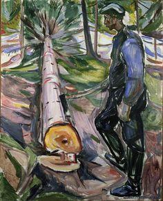 Edvard Munch (Norv. 1863-1944), Bûcheron, 1913, huile sur toile, 129 x 104 cm, Oslo, Munch Museet