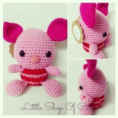 Big Headed Piglet is now for sale! $20 plus shipping or free collection #littleshopofcutes #cute #crochet #disney #whinniethepooh #pooh #piglet #poohbear #adorable #buyme #forsale