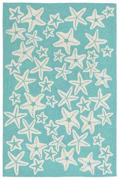 Starfish Aqua Rug: http://www.caronsbeachhouse.com/coastal-indoor-outdoor-rug-sale/