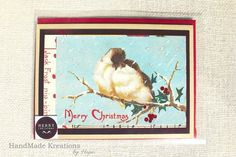 Sparrow Winter Birds Christmas Card | Merry Christmas Holiday Card | Love Bird Handmade Card | Romantic Christmas greeting card | Xmas Card Send the Christmas spirit to anyone in your life with this vintage style sparrow winter birds Christmas card. Card features two sparrows snuggling for warmth