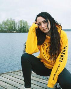 Our go-to mustard hoodie for sunshine vibes 🌞 Adventure Outfit, Club Design, Clothing Logo, Capsule Wardrobe, Skate, Mustard, Rain Jacket, Sunshine, Windbreaker