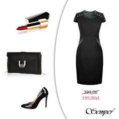 """Mała czarna"""" nigdy nie jest zła na piątkowe wyjście. Elegancko, ale też z pazurem, którego dodają skórkowe wstawki, ćwieki oraz efektowne dodatki - ponadczasowa torebka (Chanel) i absolutny must have każdej kobiety, czyli czarne szpilki (Louboutin). W takim wydaniu na pewno przyciągniesz wiele męskich spojrzeń. Uwaga! Jeszcze przez chwilę sukienkę można nabyć w promocyjnej cenie!#semper  #semperfashion #womanfashion #moda #modadamska #modasemper #semperinspiracje #modoweinspiracjesemper"""