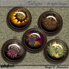 Fraktale Blumen – Digital Design - Set 6 - 20 Buttons zum Ausdrucken. 300 DPI