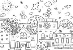 Coloring Pages Printable Spring Village