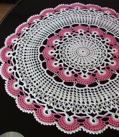 17 inches crochet doily pink white doily crocheted white doily