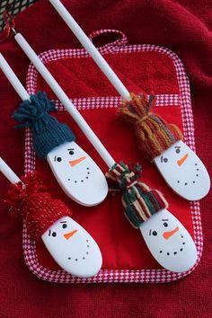 4x Holz Kochlöffel Holzlöffel Holzkochlöffel Weihnachten Schneemann Schneeflocke