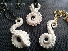 Arctic Inkwell Polymer Clay tentacle necklaces