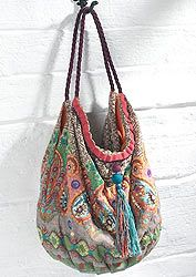 Paisley printed and embroidered shoulder bag
