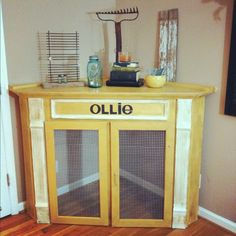 Homemade dog crate. I love this idea. Too bad we have three dogs. It would be hard to do three of these...