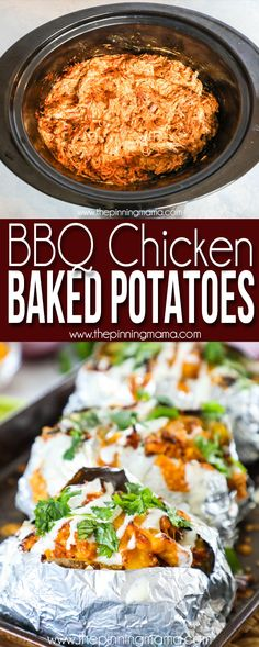 FAVORITE FAMILY DINNER!!! BBQ Chicken Baked Potatoes are a perfect weeknight dinner. You can make these from leftover BBQ chicken made in a crockpot or slow cooker, rotisserie chicken or any chicken you may have in the fridge. This easy dinner is a crowd pleaser and easy to scale for a dinner for two up to a dinner to feed a crowd.