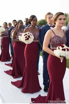 Burgundy Bridesmaid Dresses Long, Mermaid Bridesmaid Dresses, Mermaid Dresses, Wedding Bridesmaids, Wedding Dresses, Dresses Dresses, Navy Tux Wedding, Cheap Dresses, Lace Mermaid