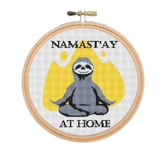 Namast'ay At Home Cross Stitch. Sloth. Yoga. Namaste. Cross Stitch. Meditation…