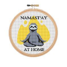 Namast'ay At Home Cross Stitch. Sloth. Yoga. Namaste. Cross Stitch. Meditation…
