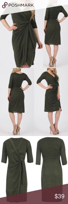 • NEW! Gathered Wrap Dress • Gathered wrap over midi dress with D ring fastening, knitted melange stretch fabric, olive green in color, 3/4 sleeves, made in the U.K. (Recommended size conversion chart provided). Lovely Dress, great quality, and so versatile!! 😍😍  Approximate Length: 102cm / 40in Material: 95% Polyester 5% Elastane Dresses Midi