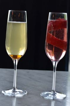 The Driver's Kir (left) For this mocktail, add ½ teaspoon allspice and ½ teaspoon cinnamon to 1 cup of maple syrup. Slowly heat to a boil then cool. Add 1/2 oz spiced maple syrup to a glass of Treewell Sparkling Maple Sap. The County Kir (right) Add ½ oz Barkley's Apple Syrup to a glass of Hinterland's Ancestral red sparkling wine (VQA Ontario) and garnish the glass with an apple peel to serve to your holiday guests upon arrival. Sparkling Wine, Maple Syrup, 1 Cup, Ontario, Cinnamon, Alcoholic Drinks, Apple, Glass, Holiday