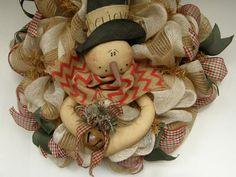 Christmas Burlap Mesh Wreath-Snowman Mesh by HootOwlMeshCreations