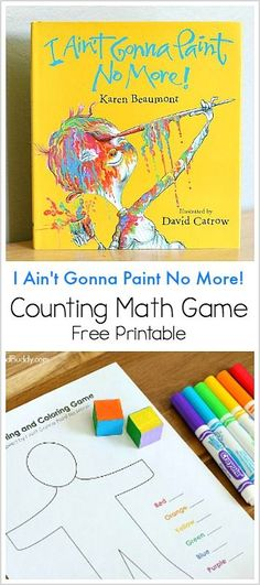 Color and Count Math Game inspired by the children's book, I Ain't Gonna Paint No More! - Free printable activity  for preschool and kindergarten! ~ BuggyandBuddy.com