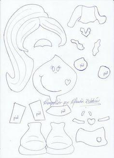 lindas manualidades: Molde de Fofucha plana Crafts To Sell, Diy And Crafts, Crafts For Kids, Arts And Crafts, Paper Piecing Patterns, Felt Patterns, Felt Dolls, Paper Dolls, Foam Crafts