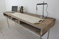Reclaimed Scaffolding Board Industrial Chic Extra Long Desk with Built In Storage and Galvanised Steel Legs - works perfectly in a sophisticated urban casual living space. This double desk can be made to measure to. Industrial Style Desk, Industrial Furniture, Wood Furniture, Furniture Design, Urban Industrial, Furniture Ideas, Design Industrial, Urban Furniture, Bespoke Furniture