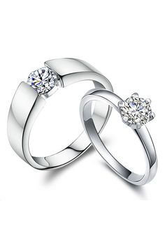 Cheap Diamond Engagement Rings for Women and Men, Simple Promise Rings for Couples, Cubic Zirconia Classic Wedding Rings in Sterling Silver, Matching His and Hers Jewelry Set @ iDream-Jewelry.Com