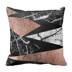 Elegant Modern Marble, Rose Gold, & Black Triangle Cushions
