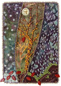 "Beautiful Bohemian Beaded Embroidery Journal ""The Last Leaf""  ~  by Robin Atk,"