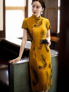 Yellow Printed A-Line Cheongsam / Qipao Dress