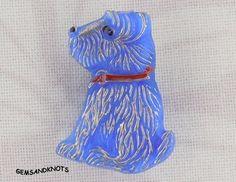 (1) Figural Norfolk Terrier Dog Blue Czech Glass Button 22mm GK7274 | GemsandKnots - Craft Supplies on ArtFire #afpounce