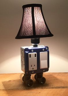 Metallic Blue Industrial lamp USB Charging station by BossLamps