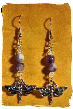 Amethyst Dragon Fly Earrings Talismans by TimelessTalismans, $21.00
