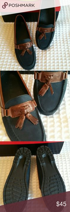 Talbots Navy & Brown Loafers Like new! Worn once. Just noticed a tassel is missing. These are suede and leather. Narrow! (Merf2 Indigo/choco) Talbots Shoes Flats & Loafers