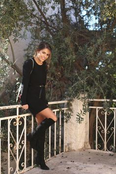 all black everything dress black over the knee boots peplum faux leather jacket - jessie chanes 8