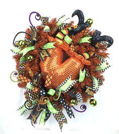 Halloween Witch Bottom Wreath w Whimsical Ribbon in Orange Black Lime Green Halloween Door, Halloween Night, Spirit Halloween, Halloween Decorations, Halloween Wreaths, Wreaths For Sale, How To Make Wreaths, Mesh Wreaths, Creative Gift Packaging