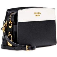 Prada Esplanade Leather Shoulder Bag (1,690 CAD) ❤ liked on Polyvore  featuring bags, handbags, shoulder bags, genuine leather shoulder bag,  black white ... e310073751