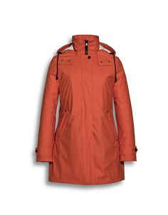 Beaumont Amsterdam Burnt Orange Hooded Rain Jacket with quilted lining instore and online at Irish Handcrafts.