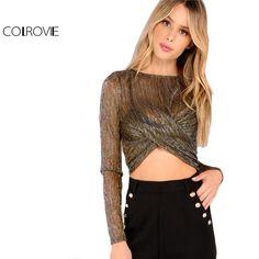 COLROVIE Women Metallic Brown Mesh Sheer Crop Top